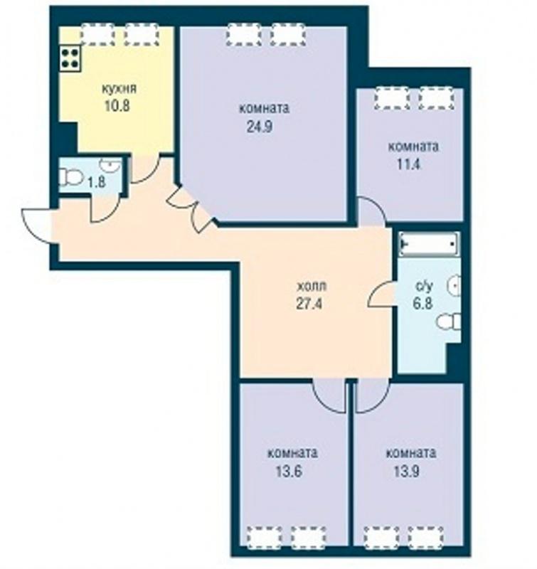 Планировка Трёхкомнатная квартира площадью 110.6 кв.м в ЖК «Эдельвейс»