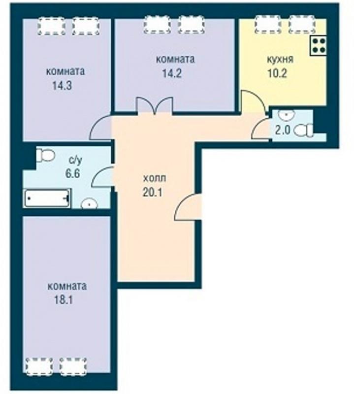 Планировка Трёхкомнатная квартира площадью 85.5 кв.м в ЖК «Эдельвейс»