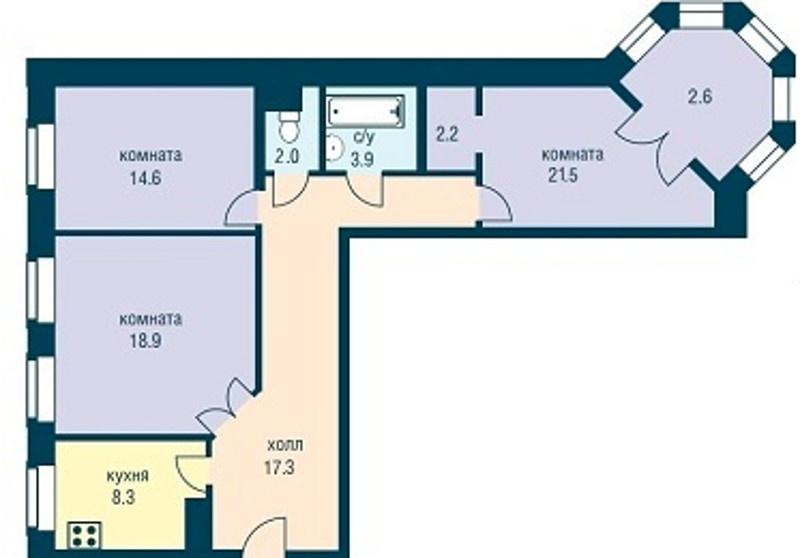 Планировка Трёхкомнатная квартира площадью 88.7 кв.м в ЖК «Эдельвейс»