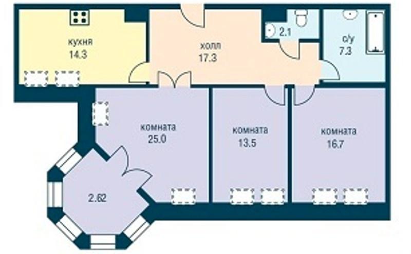 Планировка Трёхкомнатная квартира площадью 96.2 кв.м в ЖК «Эдельвейс»